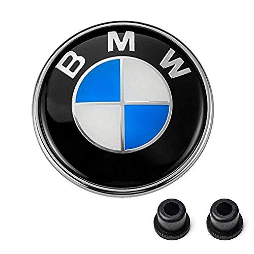 BMW Emblems Hood/Trunk, BMW 82mm Logo Replacement + 2 Grommets for ALL Models BMW E46 E30 E36 E34 E38 E39 E60 E65 E90 325i 328i X3 X5 X6 1 3 5 6 7