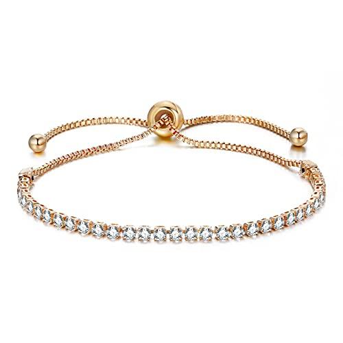 Pulsera ZIYUYANG, pulsera de circonita cúbica, joyería de boda ajustable para mujer, color dorado