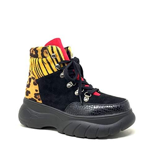 Angkorly - Chaussure Mode Baskets Bottine Rangers Plateforme Streetwear Femme imprimé Animal Effet Peau de Serpent Python léopard Talon Bloc 5 CM - Léopard - HQ123 T 41