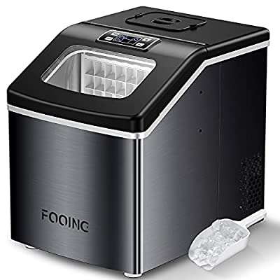 Fooing Ice Maker Machine Countertop, 40Lbs/24H Portable Compact Ice Cube Maker with LED Display Perfect for Parties Mixed Drinks, Electric Ice Makers with Ice Scoop and Basket