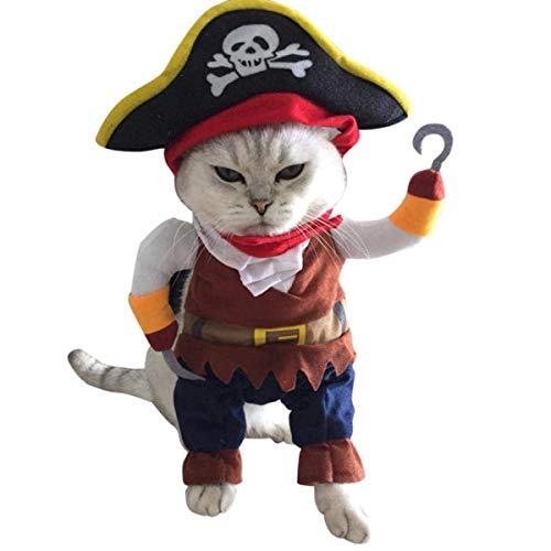 Dreamworldeu Haustier Kostüm Hunde Katze Lustige Welpen Piraten Kostüm Kleidung für Halloween Weihnachten Geburtstage