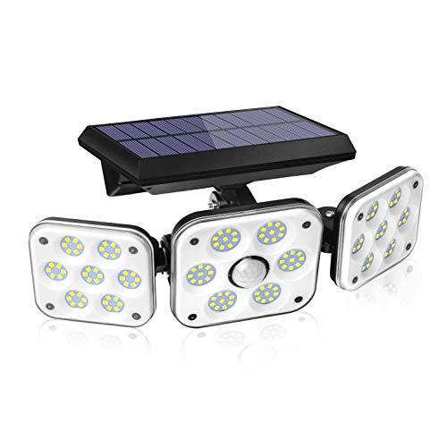138 LED Solar Lights Outdoor, Motion Sensor Security Light with 270° Wide Angle, 3 Lighting Modes, IP65 Waterproof Solar Powered Wall Light for Garage, Front Door, Yard, Wall, Garden