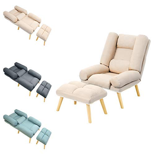 Sillón reclinable y reposapiés Sillón reclinable de Tela de Lino con Respaldo Ajustable Sillas reclinables para Sala de Estar Dormitorio Oficina sillón Capacidad para 150 kg (Beige)