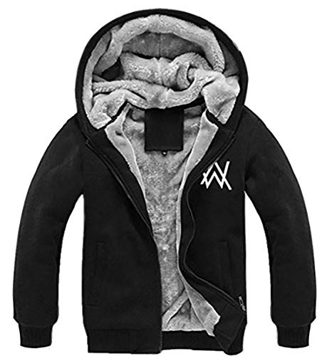 Winter Jacke Plus Dick Samt Kapuzen Pullover Schwarz Leuchtend Hoodie Zip Sweatshirt für DJ Herren Top Kleidung Mantel
