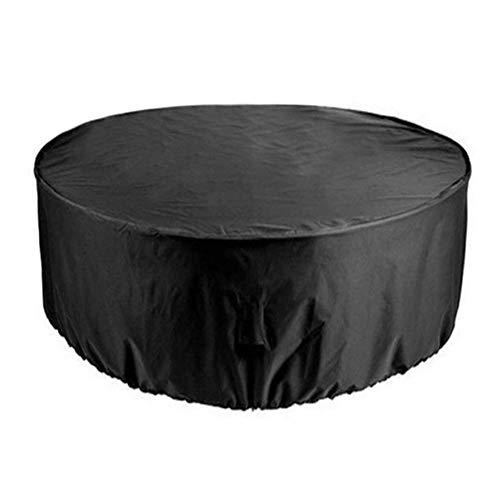Funda Protectora para Juego de Mesa Redonda, Funda para Muebles de jardín Impermeable 210D Oxford Funda de Mesa Circular para Exteriores a Prueba de Viento Anti-UV, Negro, 230x110CM