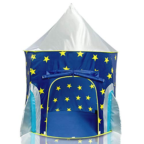 USA Toyz Rocket Ship Pop Up Kids Tent - Spaceship Rocket Indoor Playhouse Tent for Boys and Girls with Included Space Projector Toy and Kids Tent Storage Carry Bag
