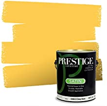 PRESTIGE Paints Exterior Paint and Primer in One, Comparable Match of Sherwin Williams* Decisive Yellow*, Satin, 1 Gallon