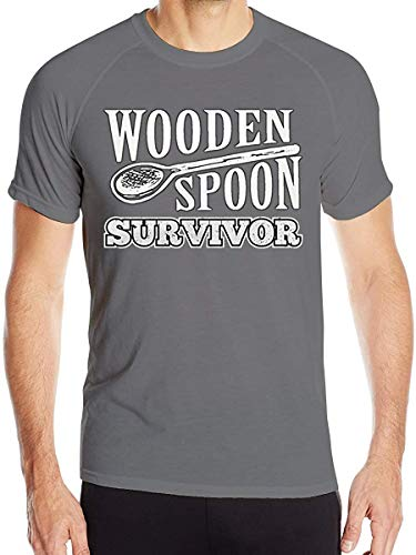 Men's Wooden Spoon Survivor Quick Dry Short Sleeve Athletic Tee Shirt,Deep Heather,XX-Large
