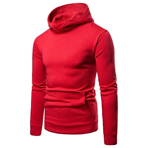 vermers Clearance Sale Mens Casual Hooded Sweatshirt - Mens Fashion Pure Color Zipper Pullover Long Sleeve Hoodie Tops(M, Red)