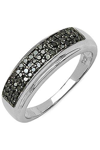 Silvancé - Anillo de mujer - plata esterlina 925 bañada en rodio - auténtico piedras preciosas: Black Diamond ca. 0.29ct. - R4876BD / Gr. 54 (17.2)