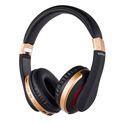 HAOKAN Audífonos inalámbricos BT para videojuegos BT5.0 inalámbricos con soporte para tarjeta FM, auriculares telescópicos, para juegos con micrófono (color: dorado)
