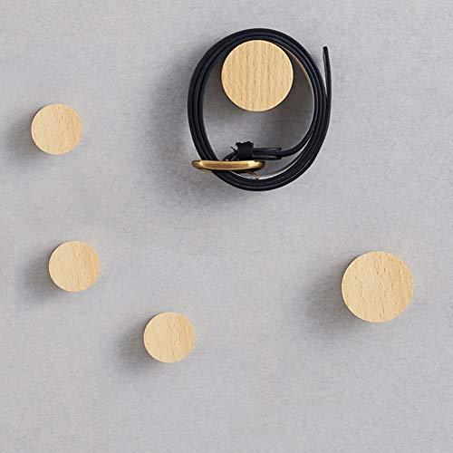 Holzmantel Haken Punkt Runde Kleiderbügel, 5er Pack Natürliche Wand Kleidung Schal Hut und Tasche Aufbewahrungsbügel Handtuchhalter Schlafzimmer Dekoration, (2 große Größe, 3 kleine Größe)