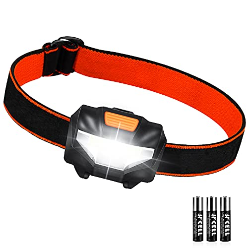 Linterna Cabeza, Linterna Frontal LED 3 Modos de Iluminación 60° Ajustable 140 Lúmenes IPX4 Impermeable, Lampára de Cabeza para Correr, Acampar, Cenderismo, Pesca, Caminar, 3 Pilas AAA Incluidas
