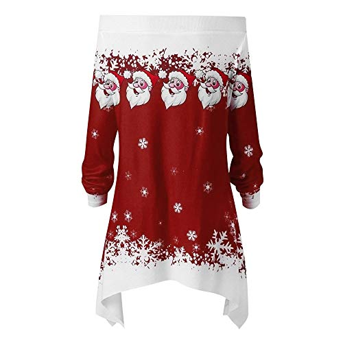 Riou Weihnachtskleid Pulloverkleid Damen Herbst Langarm Schneeflock Lang Gedruck Knielang Hoodie Sweatshirt Blouse Kleider (2XL, Wein G)
