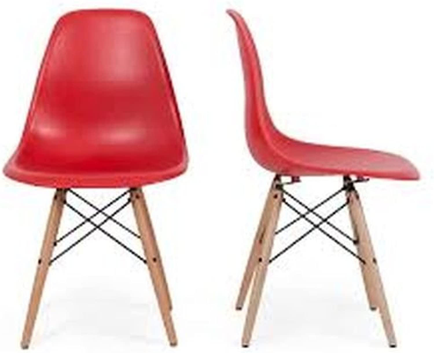 Meubles House Set of Two (2) Red Eames Style Side Chair Natural Wood Legs Kids Chair