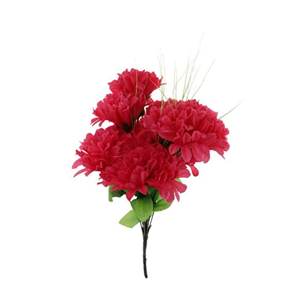 Grave Flower Chrysanthemum Funeral Memorial Grave Silk Flower |Color – Hot Pink|