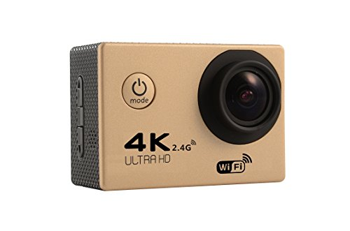 MDTEK@ 16GB TF Card+ HD 4K WiFi Sports Action Camera F60R 2.0 inch Screen 4K 170 Degrees Wide Angle WiFi Sport Action Camera Camcorder with Waterproof Housing Case &Remote Controller (Gold)