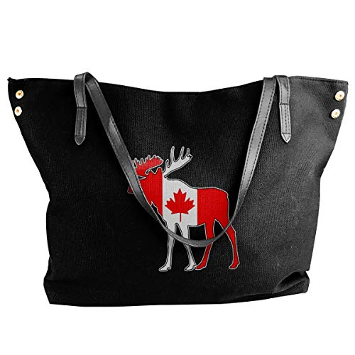 Moose and Canadian Flag Drawstring Backpack Rucksack Shoulder Bags Lightweight Gym Bag for Hiking Yoga Gym Swimming Travel Beach 12.9x18 inch