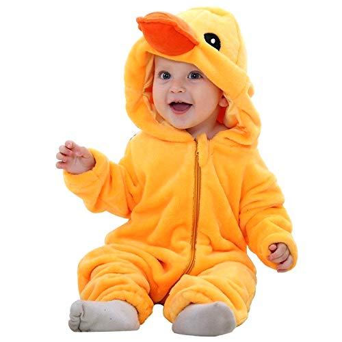 Eendenkostuum - zachte pluche - fleece - jumpsuit - eendenpak - vermomming - carnaval - halloween - meisje - pasgeboren kind - cadeau-idee voor kerst en verjaardag - 0/6 maanden cosplay