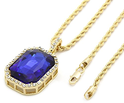 FOONEE Mens Gold Tone Iced Out Blue Ruby Octagon Pendant with 3mm 24' Rope Chain