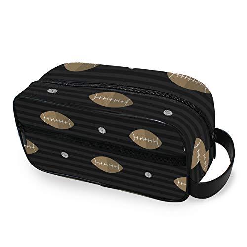 Sport Rugby-Muster Kulturtasche Reisetasche Kosmetiktasche tragbare Make-up-Tasche Tasche Multifunktions-Aufbewahrungstasche aus Segeltuch für Frauen Mädchen