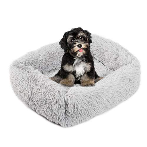 look envy Rectangle Dog Bed Cat Bed Anti-Slip Mattress,Faux Fur Soft Washable Dog Cat Cushion Bed for Large Medium Small Dogs(26''x22'')