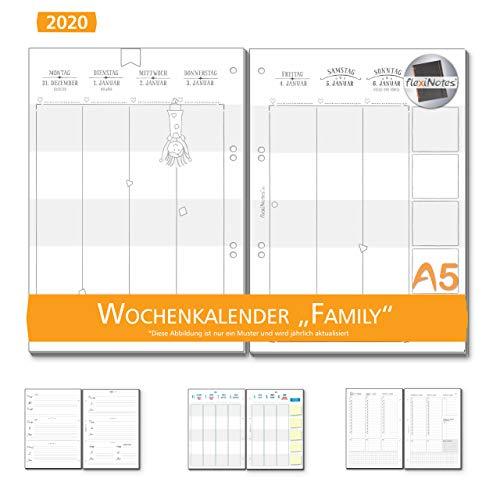 flexiNotes WOCHENKALENDER 2020 A5, Kalendereinlage: Family, 1 Woche 2 Seiten