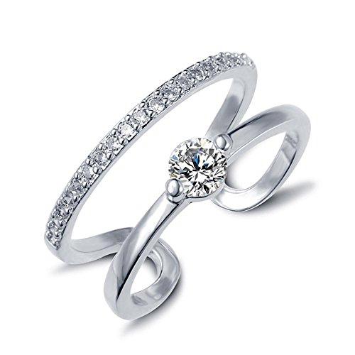 HFJ&YIE&H Anweisung Ring Gold Silber Zirkon Designer einzigartige Ring geometrische Ring einstellbar , silver