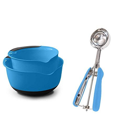 Gorilla Grip Mixing Bowl Set of two and Spring Scoop, Both in Aqua Color, Mixing Bowls Include 5 and three Quart Sizes, Scooper is Great for Cookie Dough and Ice Cream, 4 TBSP Capacity, 2 Item Bundle