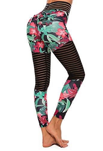 FITTOO Pantalones Deportivos Mujer Yoga Leggings de Alta Cintura Elásticos Transpirables para Running Fitness #5 Verte Small