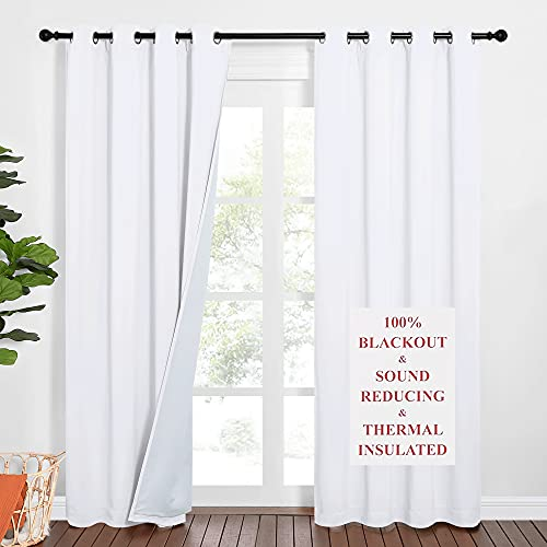 NICETOWN Sound Barrier 100% Blackout Divider Curtains 84', Noise, Cold and Heat Blocking Drapes with Felt Fabric Lining for Noise Reducing / Nursery / Daytime Sleep / Bedroom (White, 2 PCs, 52' Wide)