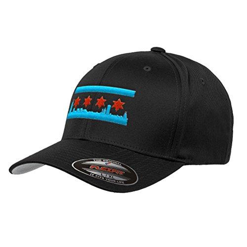Chicago Skyline Flag Flexfit Premium Classic Yupoong Wooly Combed Hat 6277 LR (L/XL, Black)