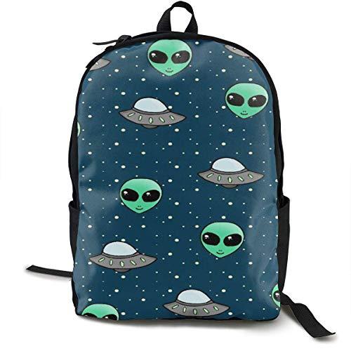Space Alien y UFO Head Daypack con Correas Acolchadas, Mochila de Viaje, Senderismo y Camping Mochilas Escolares de Gran Capacidad para Hombro Bolsas multipropósito antirrobo