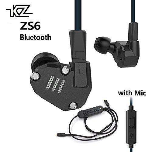 KZ ZS6 2DD+2BA Bluetooth Wireless Earphones HiFi Monitor DJ Hybrid Detach Earphones Noise Canceling Sport Headset with MIC