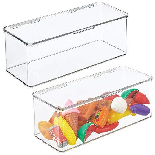 mDesign Juego de 2 organizadores de juguetes – Juguetero grande con tapa de plástico robusto – Caja organizadora apilable para guardar juguetes y manualidades – 14,6 x 34,0 x 12,7 cm – transparente
