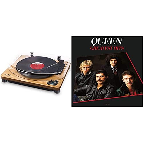 ION Audio Air Lp Wood Giradischi Bluetooth A Tre Velocità Con Software Di Conversione Usb Finitura In Legno Anticato & Universal Music Queen Greatest Hits
