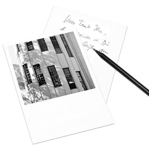 10er-Set Postkarte Weimar im Polaroid-Look - DIN A6 Hochformat - Motiv: Bauhaus-Universität