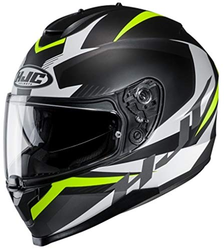 HJC Helmets Unisex– Erwachsene Nc Motorrad Helm, Schwarz/Weiss/Fluo, M