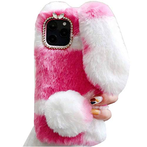 iPhone5C Case, Handmade Milk Cow Rabbit Ear Tail Wool Villus Soft Cute Plaque Cover, HUZIGE New Come Light Art Phone Case for Apple iPhone 5C Pink