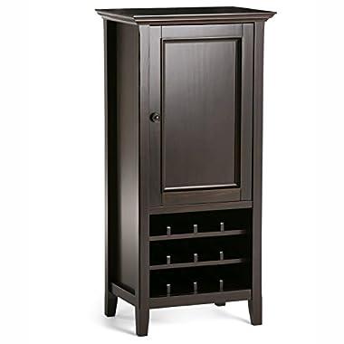 Simpli Home Amherst Solid Wood High Storage Wine Rack, Dark Brown