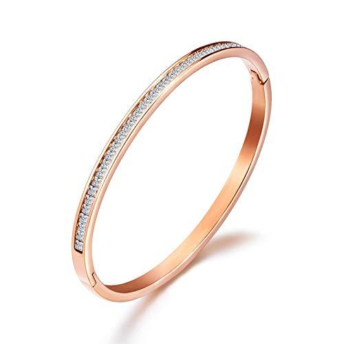 Hao Ting Brazalete de acero de titanio bañado en oro rosa con diamantes y hojas Joyas, relojes, complementos, brazaletes
