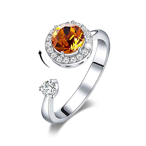 CDE November Rings Rostating Brithstone Embellished Crystals from Swarovski Jewelry Ring Friendship Mothers Day Jewelry Gifts for Women Sister Mom