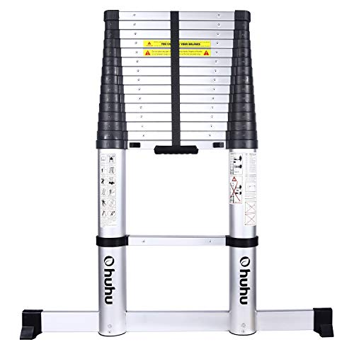 Ohuhu 15.5 FT Telescoping Ladder with Stabilizer Bar, EN131 Certified Convenient Aluminum Telescopic Extension Ladder,...