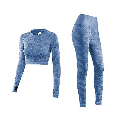 qqff Pantalones Hippie Yoga Verano Playa,Traje de Camuflaje de Dos Piezas,Mallas de Secado rápido para Correr Fitness-Blue_L,Traje de Entrenamiento Casual de Gimnasio de Pilates