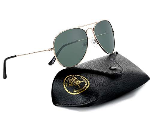 Rocf Rossini Gafas de Sol Aviador para Mujer Gafas Polarizadas Retro de Hombre con Protección UV400 para Pescar Conducir Playa(gold/g15)