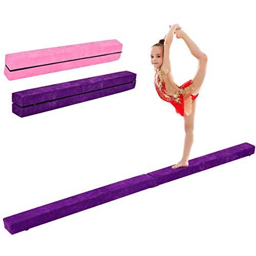 GOPLUS Schwebebalken faltbar Turnen Balken Gymnastikbalken Training Balance Beam rutschfest 210x10x6,5cm (Violett)