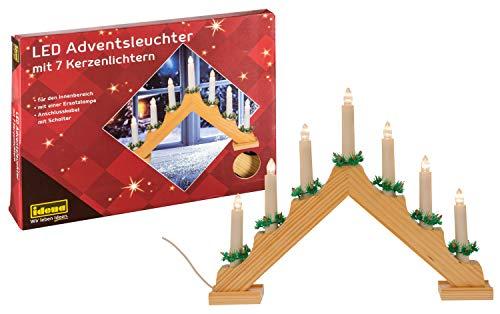 Idena 8582088 - LED Adventsleuchter aus naturfarbenem Holz mit 7 LED Kerzenlichtern, inklusive Ersatzlampe, Anschlusskabel mit Schalter, ca. 40 x 30 cm