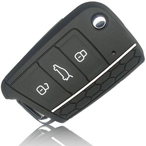 FoilsAndMore Funda Compatible con VW Golf 7 Llave de Coche con 3 Botones Skoda Seat - Silicona Cubierta Protectora Cover Caso Clave in Negro Blanco