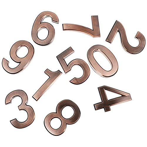 Yardwe 10 pegatinas 3D para direcciones de puerta, estilo antiguo vintage de 0 a 9, número de la puerta delantera, ventana de números de números para la casa, tienda, 7 cm