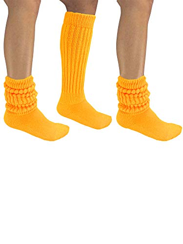 Yellow All Cotton 3 Pack Extra Heavy Super Slouch Socks
